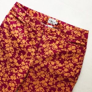 Calvin Klein Ankle Cropped Floral Mid-Rise Pants